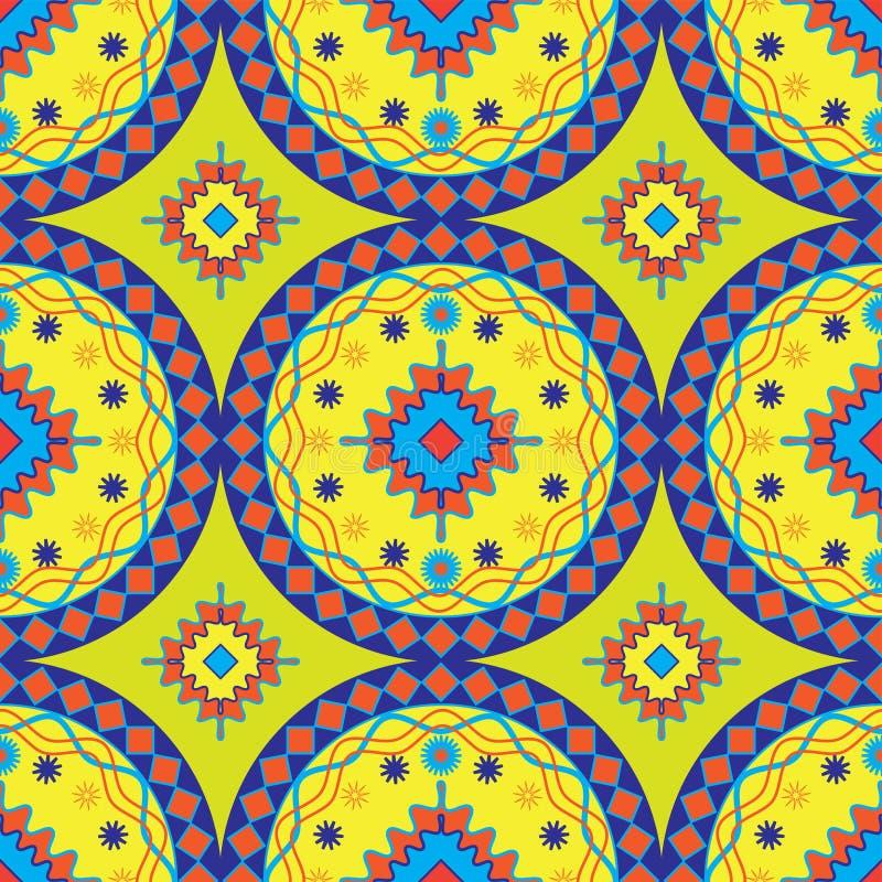 Diseño africano inconsútil del modelo en el amarillo para las telas y las materias textiles ilustración del vector