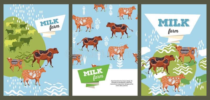 Diseño agrícola de la disposición del folleto Un ejemplo de un contexto para la granja de ganado composici?n geom?trica Fondo par libre illustration