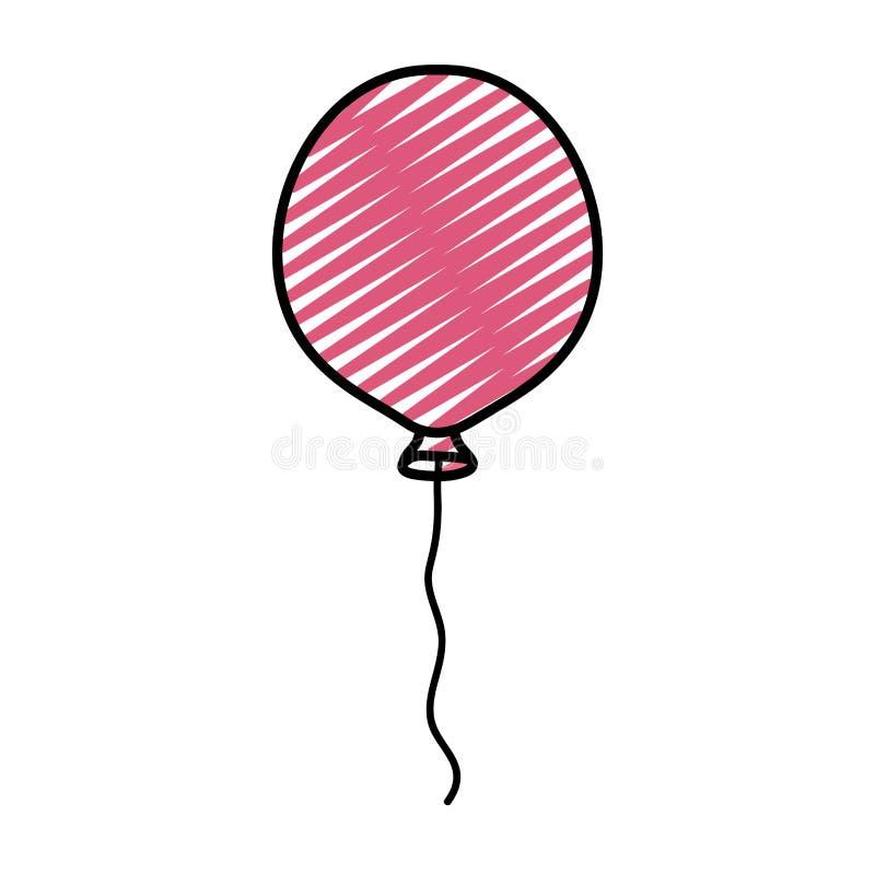 Diseño agradable del objeto de la diversión del globo del garabato ilustración del vector