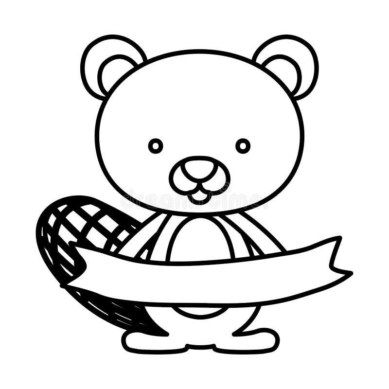 Diseño aislado de la historieta del castor ilustración del vector