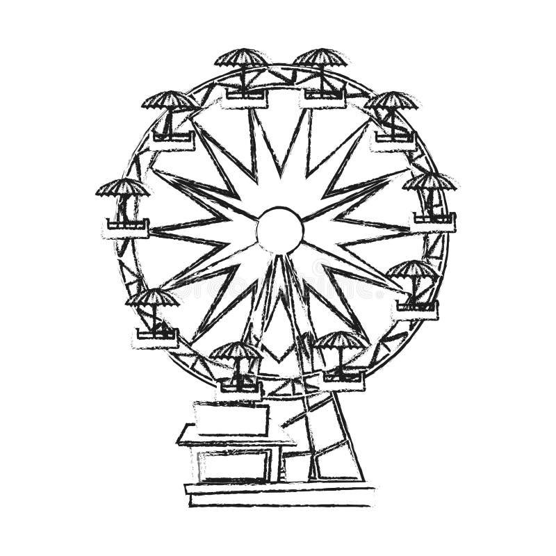 Diseño aislado de la noria stock de ilustración