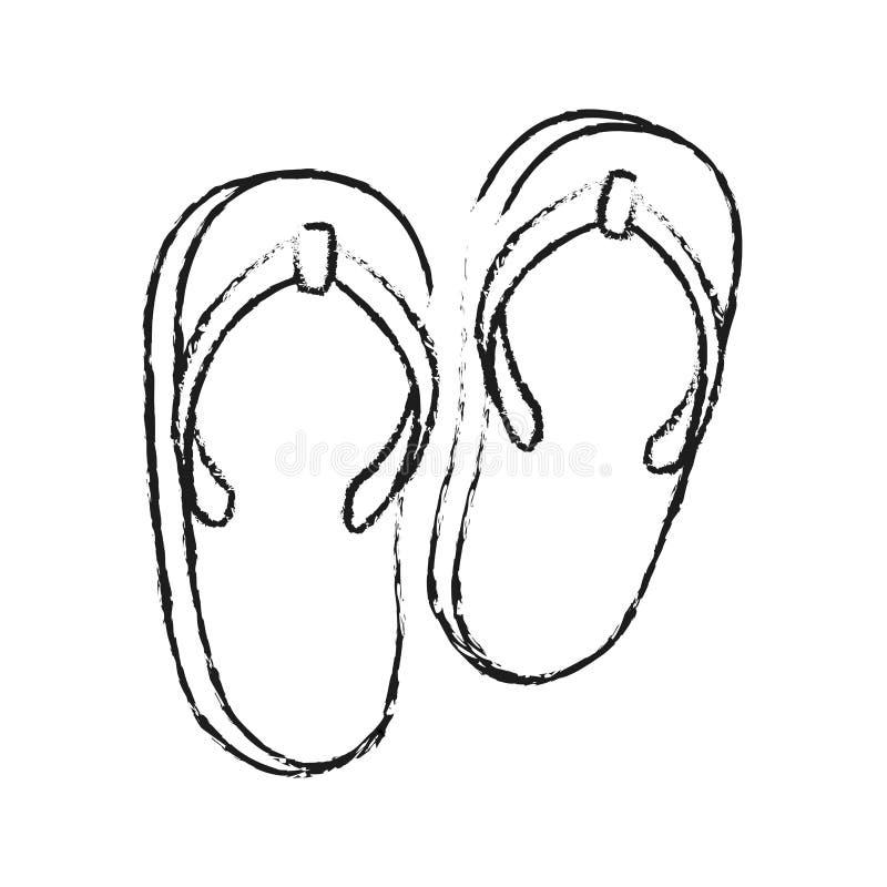Los Pies De Muchacha En Un Vestido Y Sandalias Se Están
