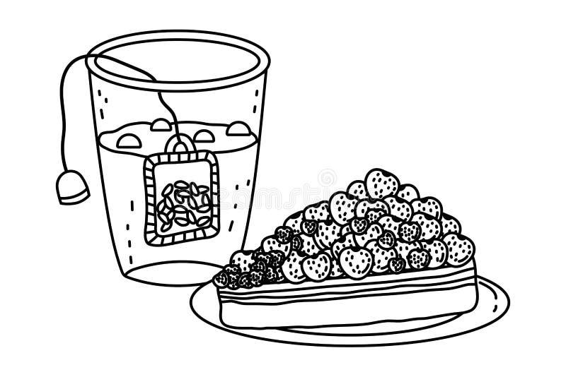 Diseño aislado del vidrio y de la torta del té stock de ilustración