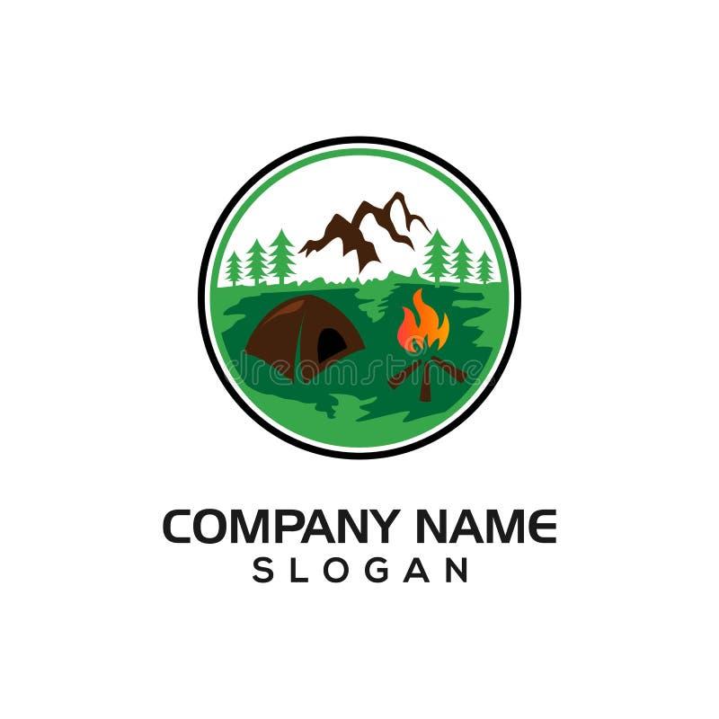 Diseño al aire libre del paisaje para el icono gráfico del icono del logotipo del sitio para acampar stock de ilustración