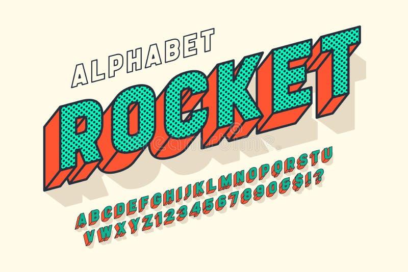 Diseño, alfabeto, letras y números cómicos de la fuente de la exhibición 3d stock de ilustración