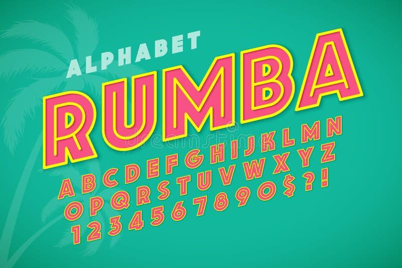 Diseño, alfabeto, letras y números calientes de la fuente de la exhibición del verano ilustración del vector