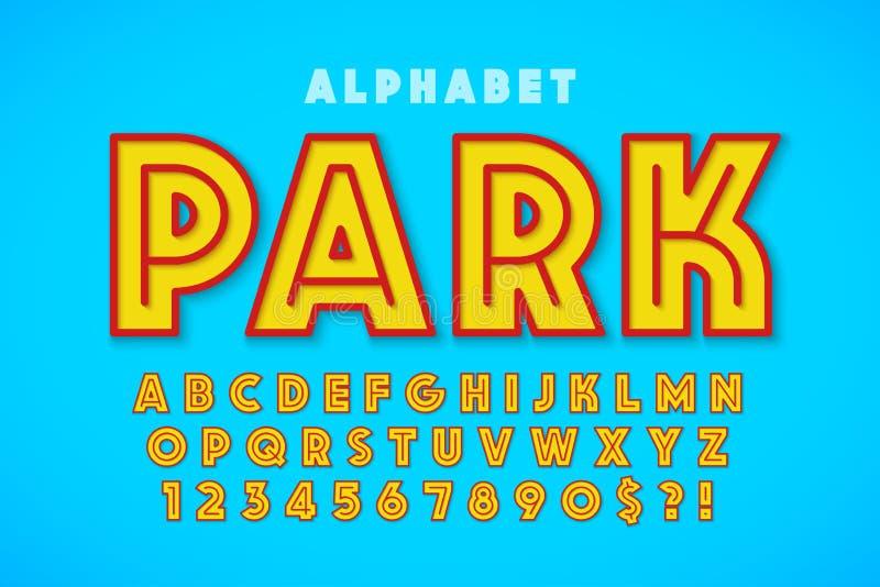 Diseño, alfabeto, letras y números calientes de la fuente de la exhibición del verano stock de ilustración