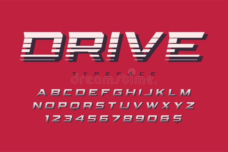 Diseño, alfabeto, tipografía, letras y numbe de la fuente de la exhibición de la impulsión stock de ilustración