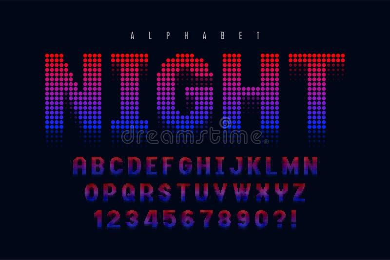 Diseño, alfabeto y números halftoned punteados de la fuente de la exhibición ilustración del vector