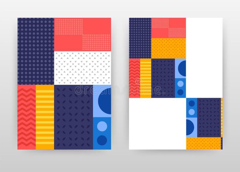 Diseño amarillo azul rojo colorido del aviador del folleto del informe anual del negocio Folleto abstracto colorido, plantilla de stock de ilustración