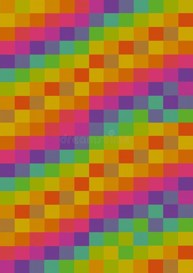 Diseño amarillo-naranja multicolor del arte abstracto del modelo del rosa del panel de los cuadrados coloridos verticales del fon fotografía de archivo libre de regalías