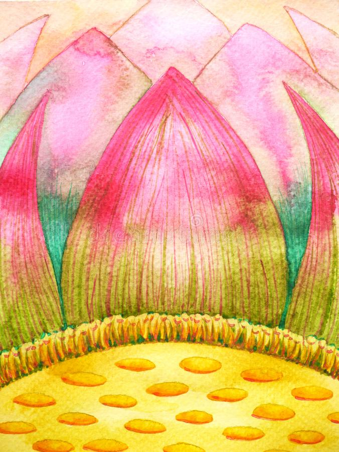 Diseño amarillo rosado del ejemplo de la pintura de la acuarela del pétalo del loto libre illustration