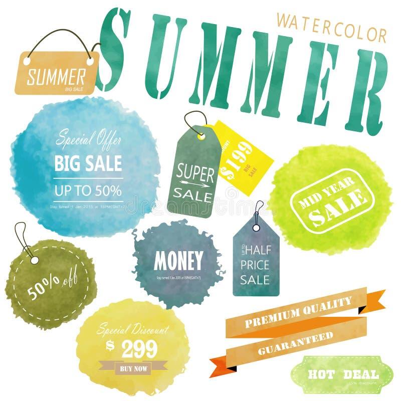 Diseño amarillo verde azul claro de la publicidad de la etiqueta del círculo con el wat stock de ilustración