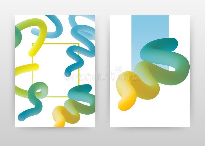 Diseño amarillo verde del aviador del folleto del informe anual del negocio del extracto La plantilla abstracta alineada del foll libre illustration
