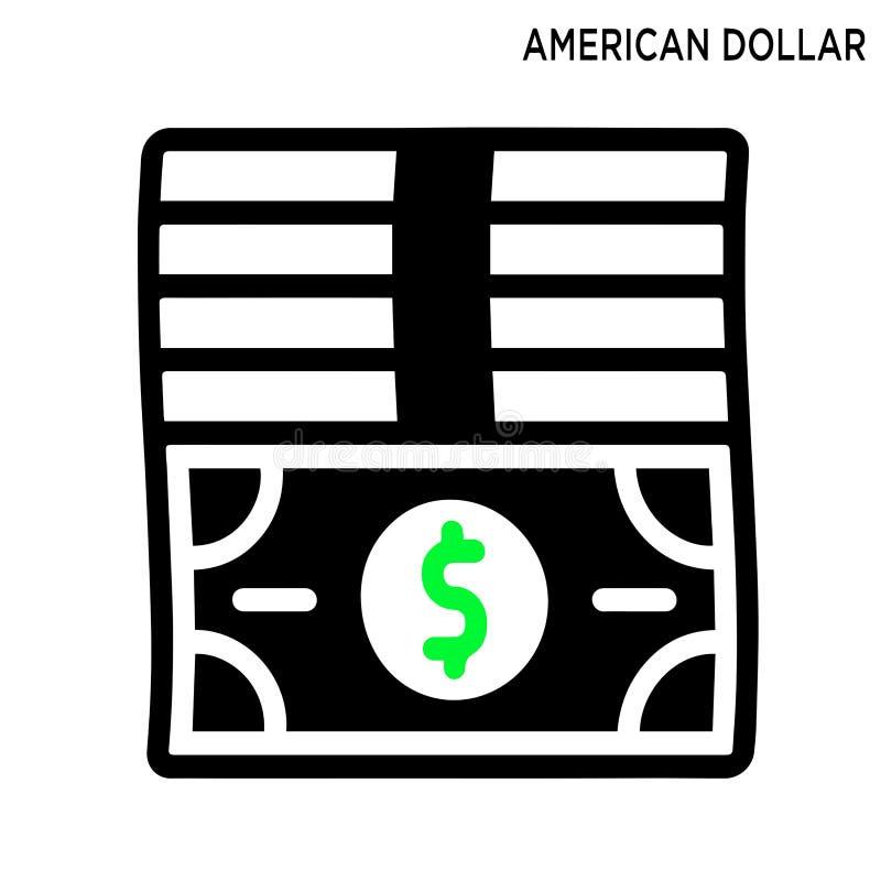 Diseño americano del símbolo del icono del dólar aislado en el fondo blanco stock de ilustración