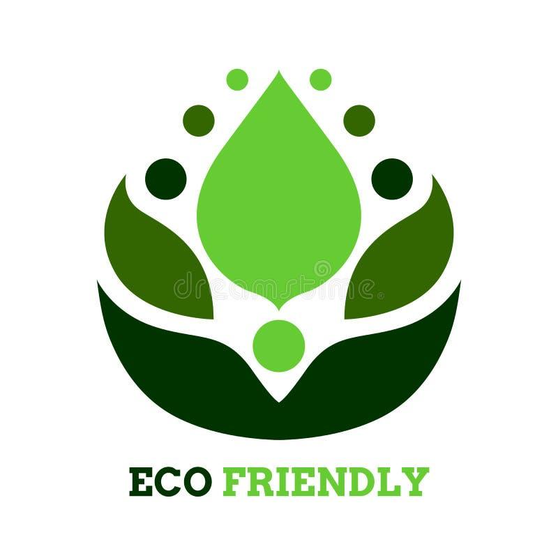 Diseño amistoso del vector del símbolo del icono del logotipo del eco de la flor del árbol de la hoja libre illustration
