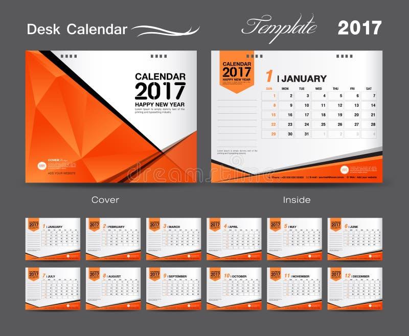 Diseño anaranjado determinado 2017, calendario de la plantilla del calendario de escritorio de escritorio de la cubierta stock de ilustración