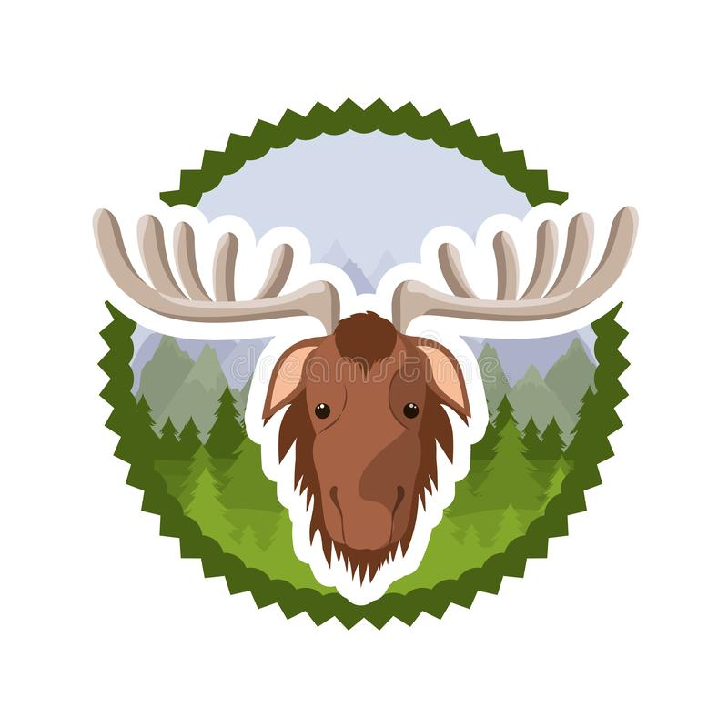 Diseño animal aislado del bosque de los alces ilustración del vector