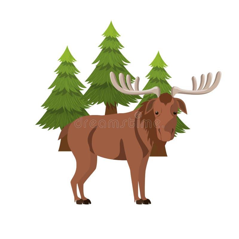 Diseño animal aislado del bosque de los alces stock de ilustración