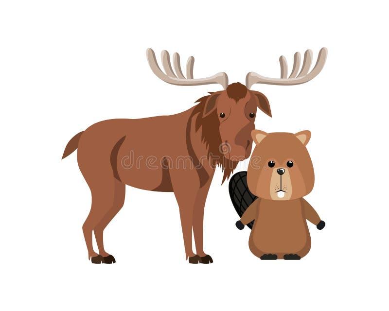 Diseño animal aislado del bosque de los alces y del castor stock de ilustración