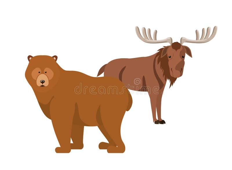 Diseño animal aislado del bosque de los alces y del oso libre illustration