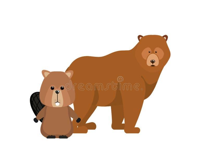 Diseño animal aislado del bosque del oso y del castor stock de ilustración
