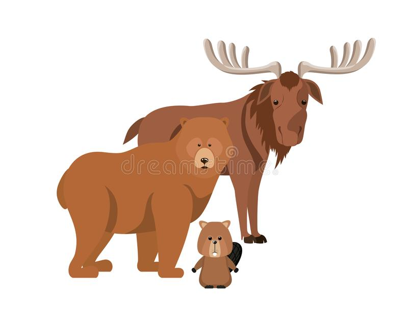Diseño animal aislado del castor y del oso de los alces libre illustration