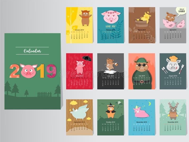 Diseño animal divertido del calendario 2019, el año de las plantillas mensuales de las tarjetas del cerdo, sistema de 12 meses, n libre illustration