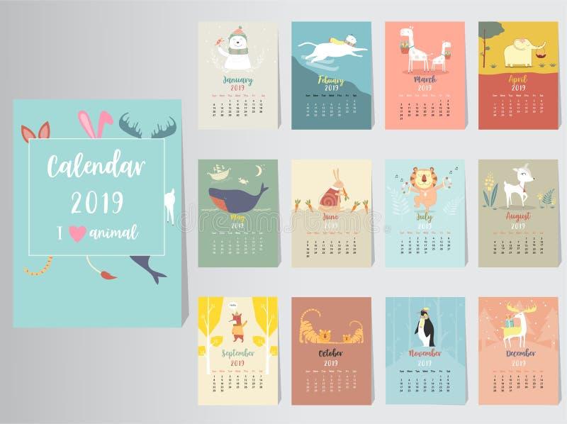Diseño animal lindo del calendario 2019, el año de las plantillas mensuales de las tarjetas del cerdo, sistema de 12 meses, niños stock de ilustración