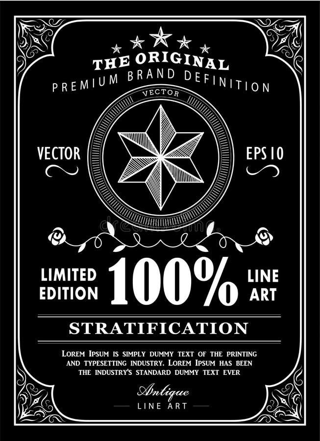 Diseño antiguo de la pizarra del vintage del cartel de la etiqueta de la tipografía del marco stock de ilustración