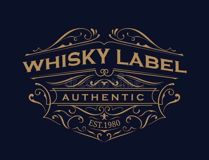 Diseño antiguo del logotipo del marco del vintage de la tipografía de la etiqueta del whisky stock de ilustración
