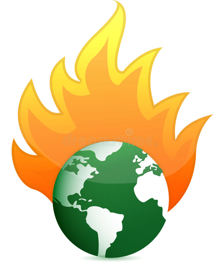 Diseño ardiente de la ilustración del globo de la tierra del eco libre illustration