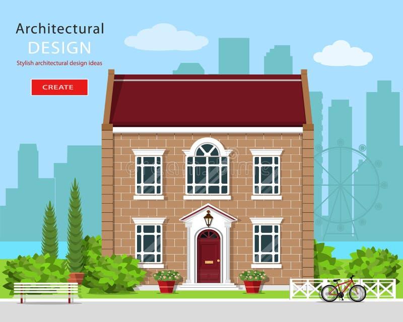 Diseño arquitectónico gráfico moderno Casa linda del ladrillo Sistema colorido: casa, banco, yarda, bicicleta, flores y árboles ilustración del vector