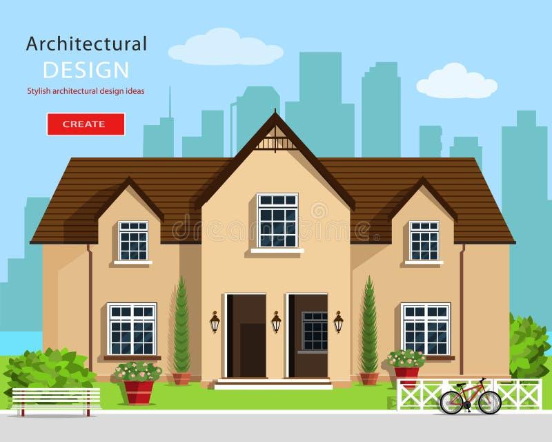 Diseño arquitectónico gráfico moderno Sistema colorido: casa, banco, yarda, bicicleta, flores y árboles Casa plana del vector del stock de ilustración