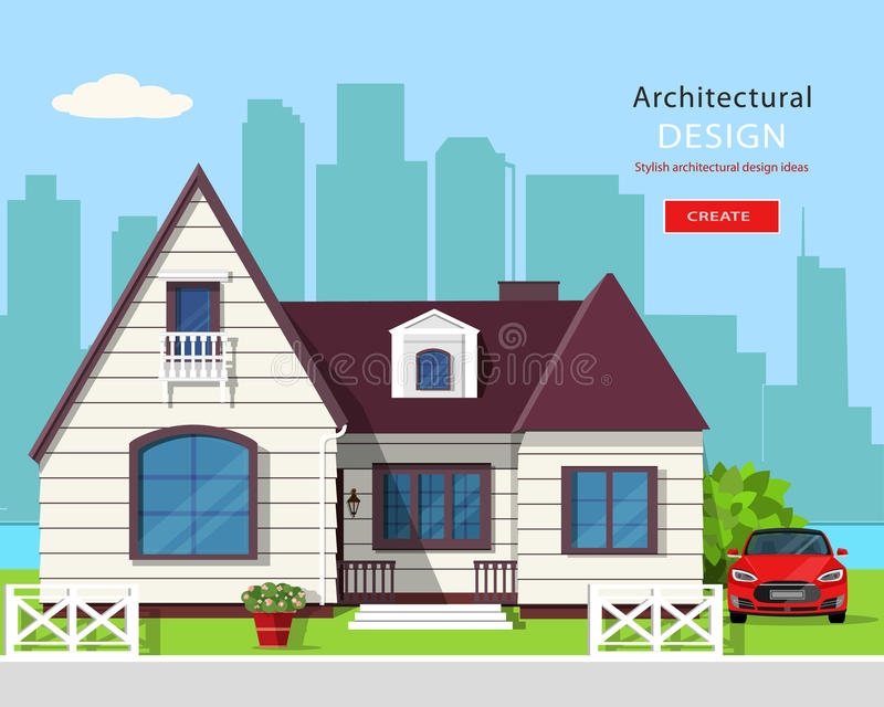 Diseño arquitectónico gráfico moderno Sistema colorido: casa, coche, yarda, flores y árboles ilustración del vector