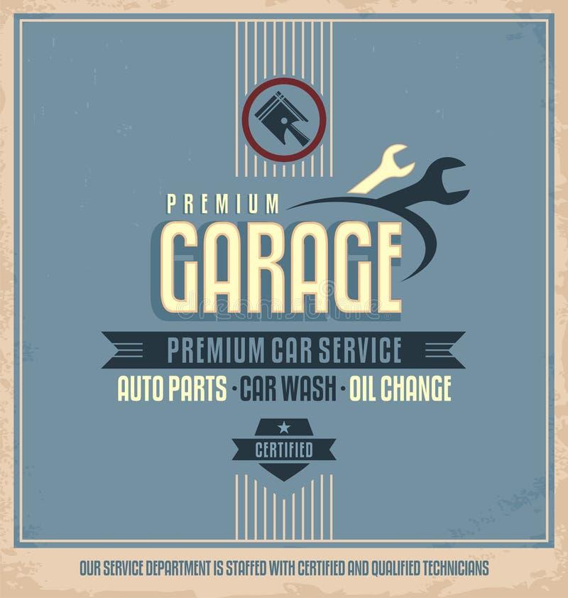 Diseño auto del cartel del vintage del servicio ilustración del vector