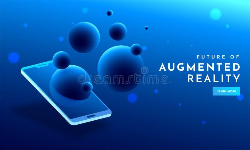 Diseño azul brillante de la plantilla del web con la vista isométrica del smartphone ilustración del vector