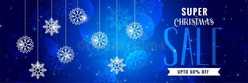 Diseño azul de la bandera de la venta brillante de la Navidad stock de ilustración