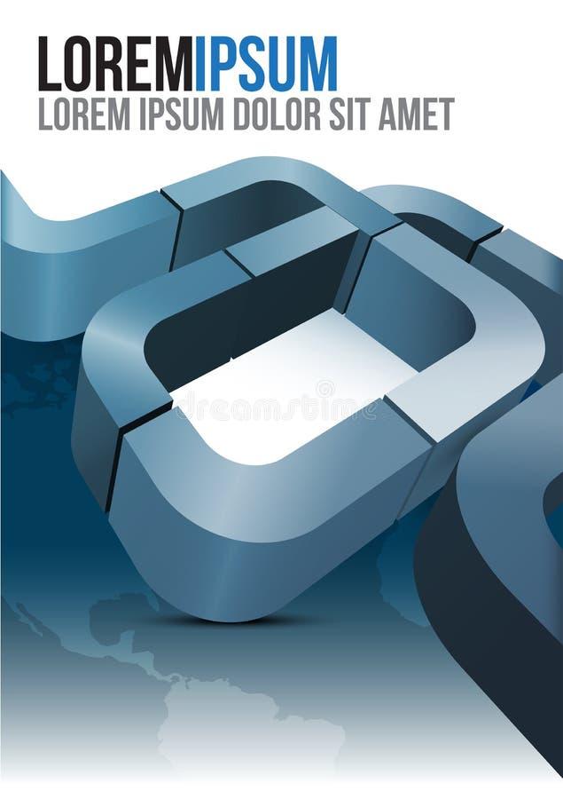 Diseño azul de la cubierta del folleto del vector con las rayas y los continentes libre illustration