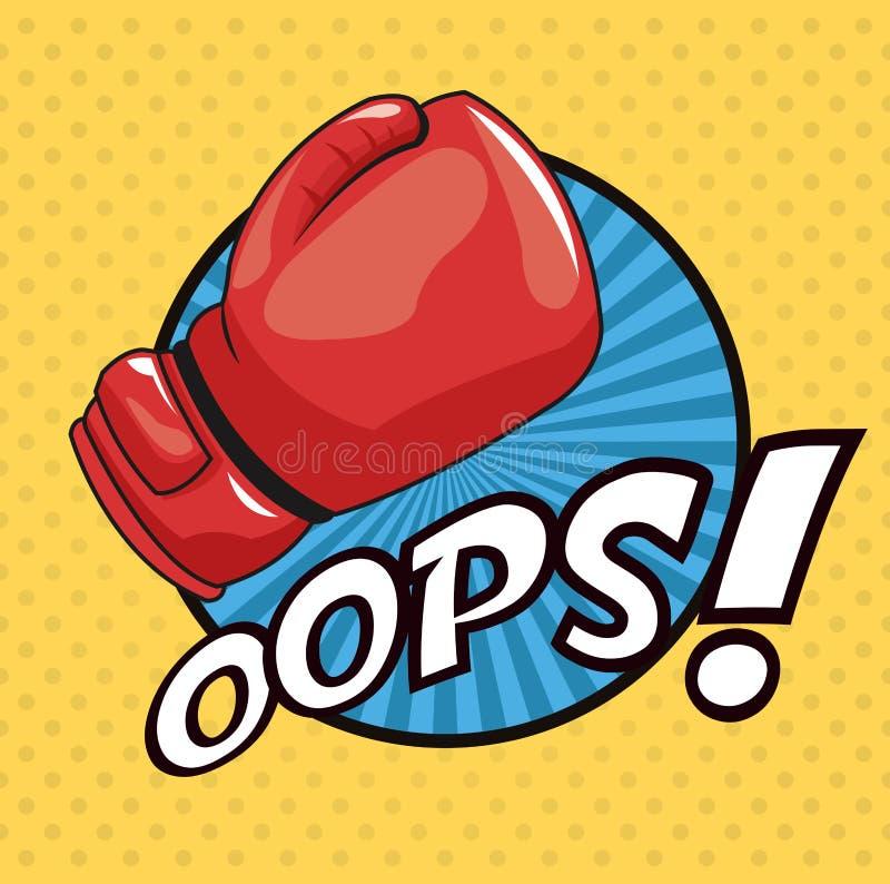 Diseño azul del círculo del guante de la lucha del arte pop oops libre illustration