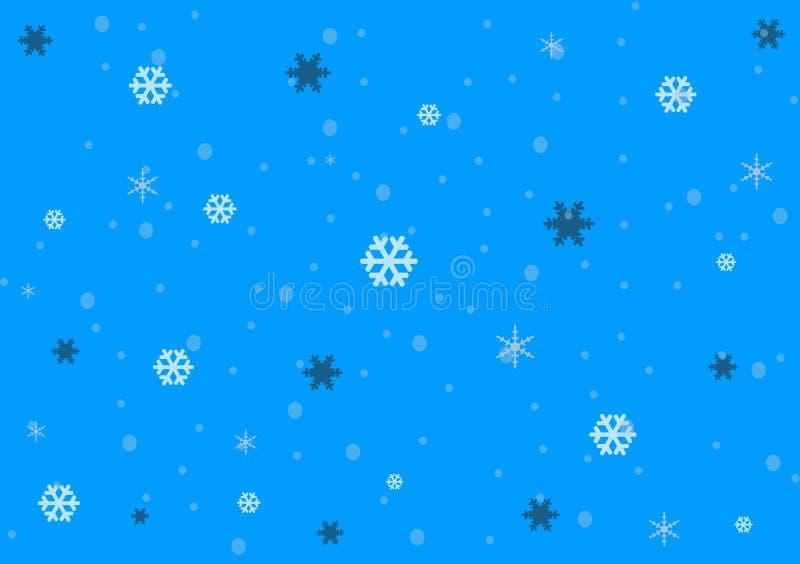 Diseño azul del fondo que muestra caída de la nieve ilustración del vector