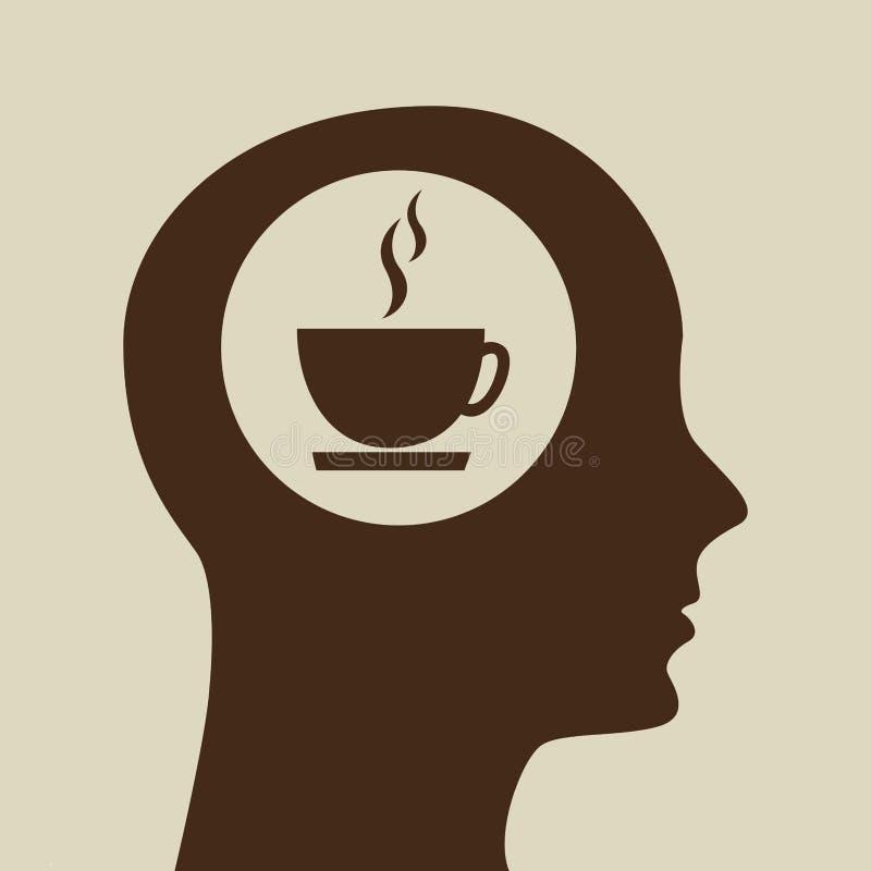 Diseño azul del icono del coffe de la taza de la cabeza de la silueta stock de ilustración