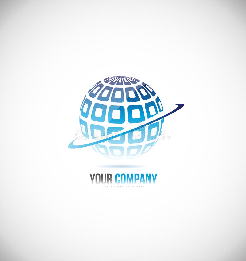 Diseño azul del icono del logotipo del globo 3d de la esfera libre illustration