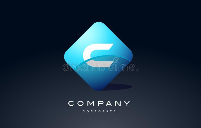 diseño azul del icono del vector del logotipo de la letra del hexágono del alfabeto de c ilustración del vector