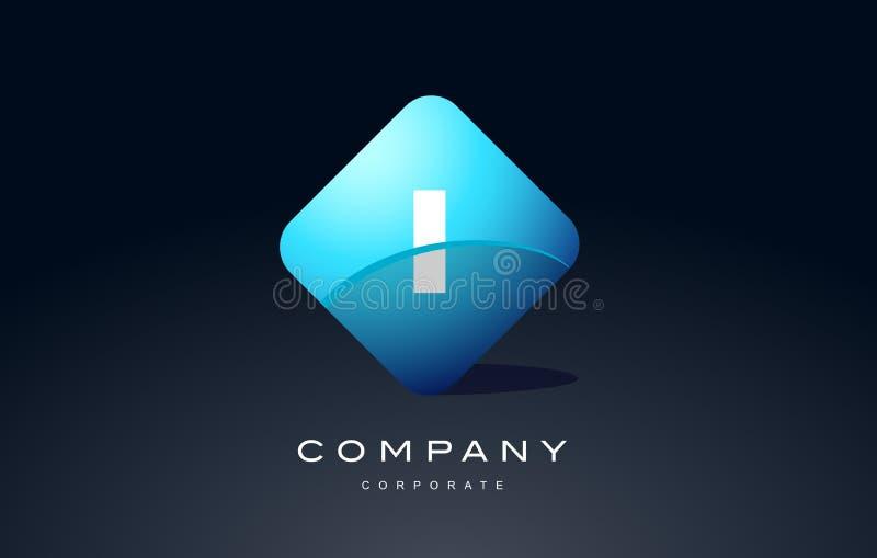 diseño azul del icono del vector del logotipo de la letra del hexágono del alfabeto i stock de ilustración