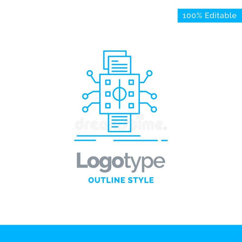 Diseño azul del logotipo para el análisis, datos, dato, procesando, reportin libre illustration