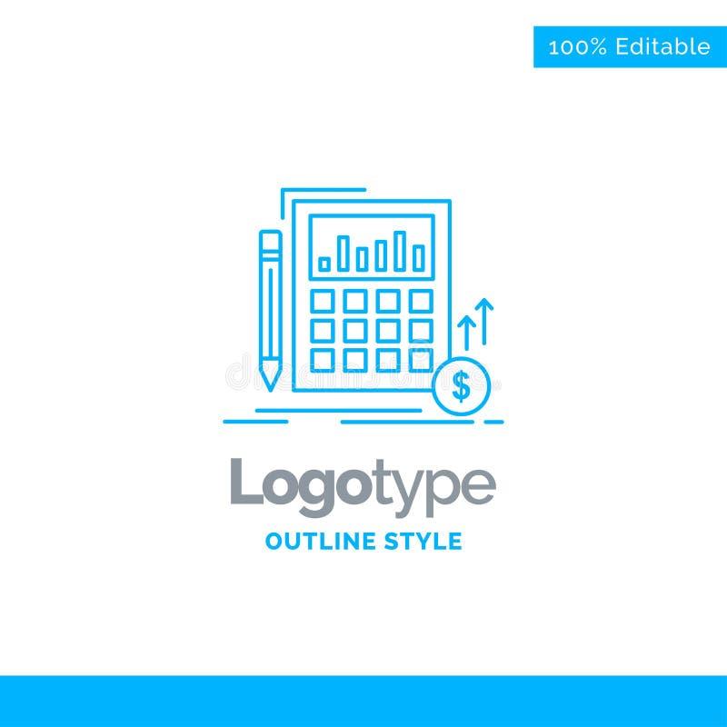 Diseño azul del logotipo para el cálculo, datos, financieros, inversión, m ilustración del vector