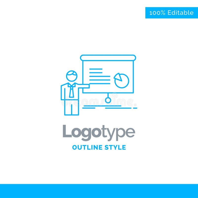 Diseño azul del logotipo para el gráfico, reunión, presentación, informe, semin stock de ilustración