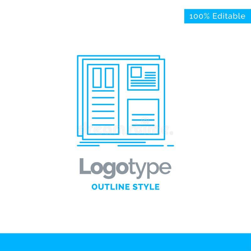Diseño azul del logotipo para el diseño, rejilla, interfaz, disposición, ui Busine ilustración del vector