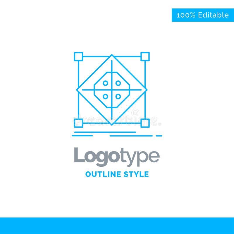 Diseño azul del logotipo para la arquitectura, racimo, rejilla, modelo, prepara ilustración del vector